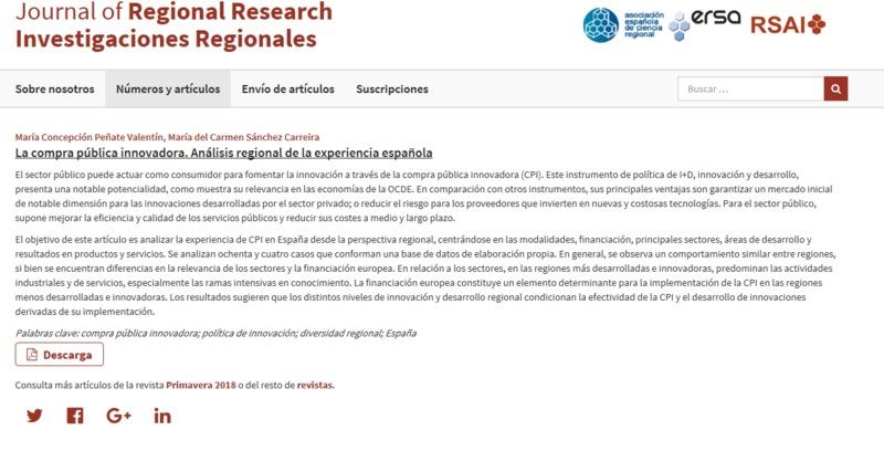 La compra pública innovadora. Análisis regional de la experiencia española