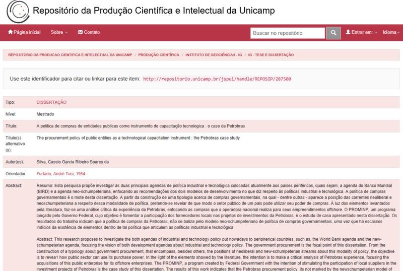 A Política de Compras de Entidades Públicas como Instrumento de Capacitação Tecnológica: o Caso da Petrobras