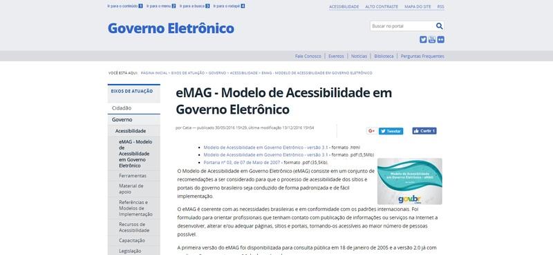 Modelo de Acessibilidade em Governo Eletrônico (eMAG)