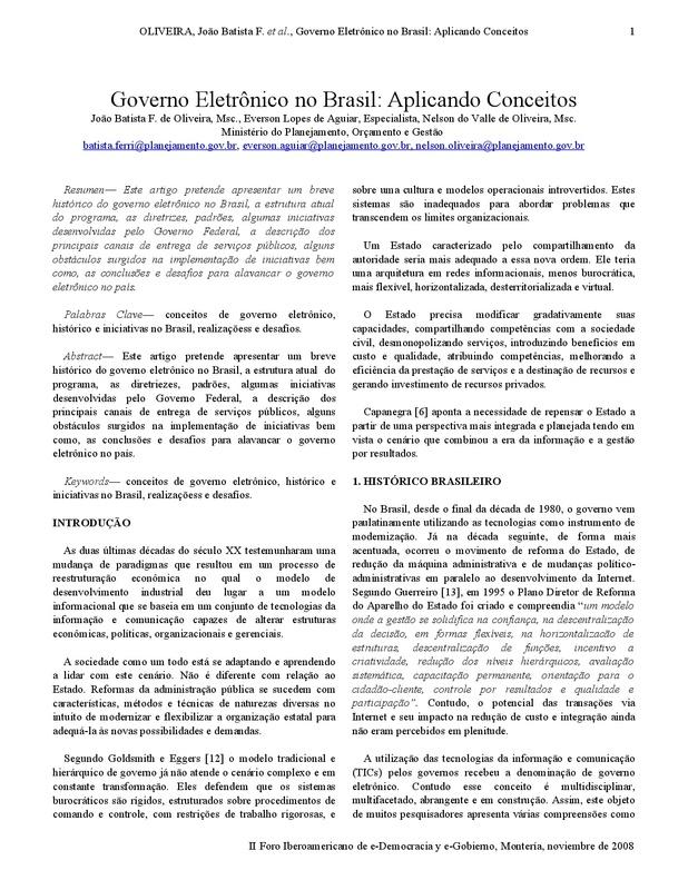 Governo Eletrônico no Brasil: Aplicando Conceitos
