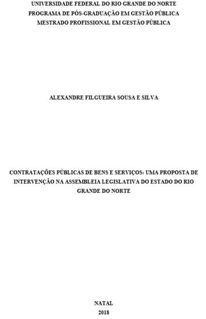 Contratações públicas de bens e serviços: uma proposta de intervenção na Assembleia Legislativa do estado do Rio Grande do Norte