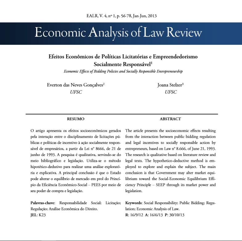 Efeitos econômicos de políticas licitatórias e empreendedorismo socialmente responsável = Economic Effects of Bidding Policies and Socially Responsible Entrepreneurship