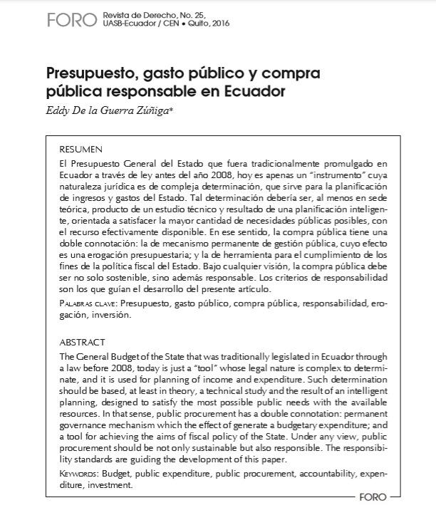 Presupuesto, gasto público y compra pública responsable en Ecuador