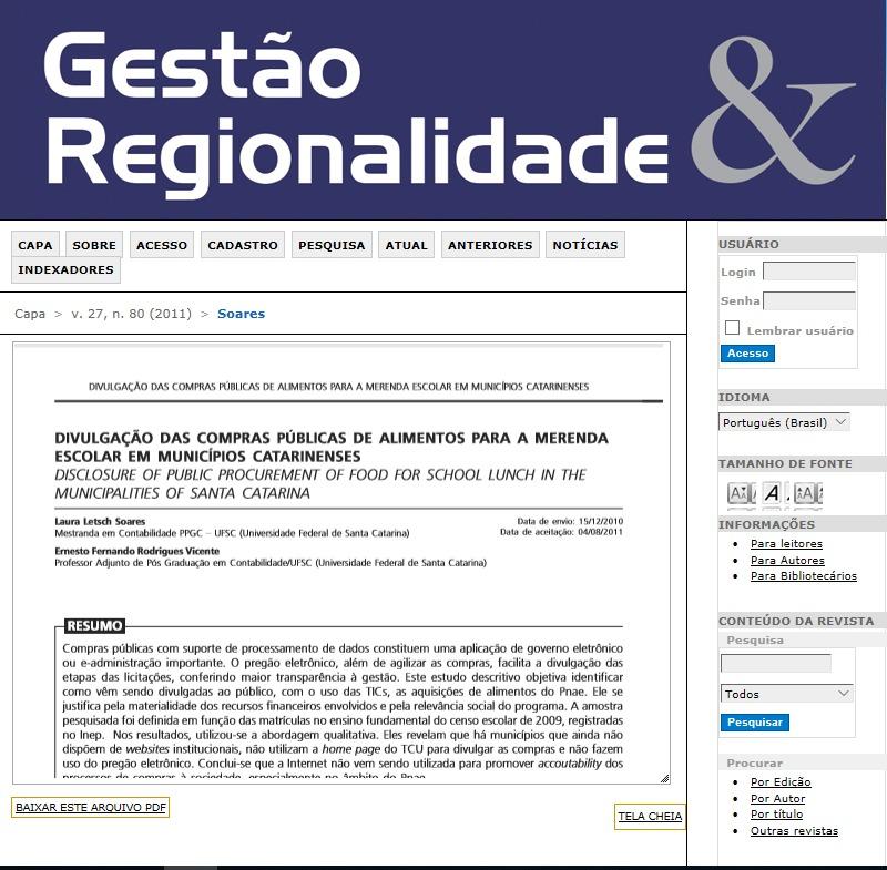 Divulgação das compras públicas de alimentos para a merenda escolar em municípios catarinenses