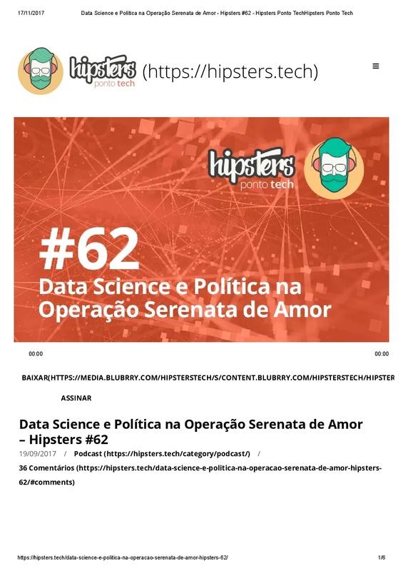 Data Science e Política na Operação Serenata de Amor