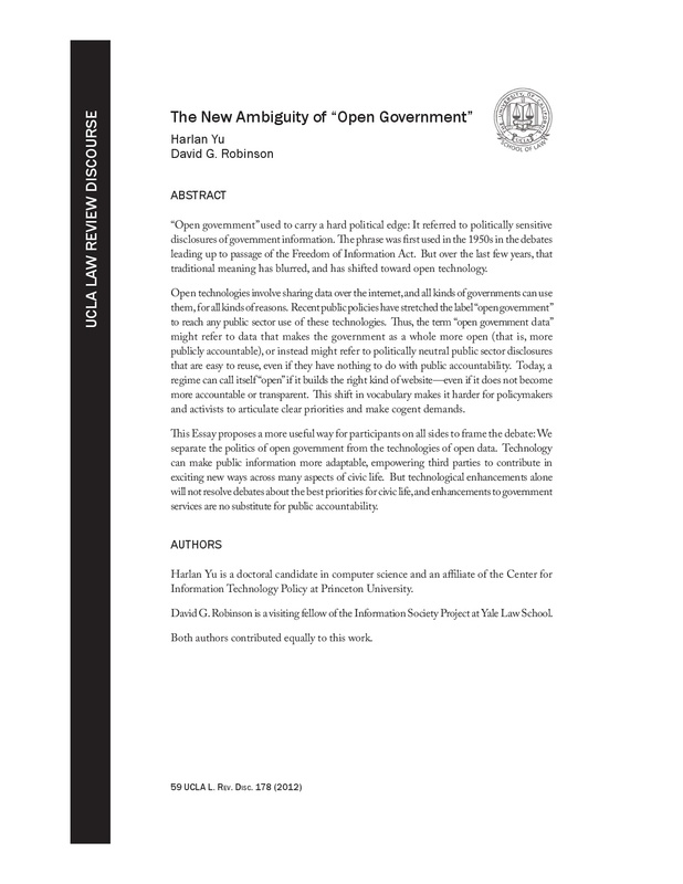 "The New Ambiguity of ""Open Government"