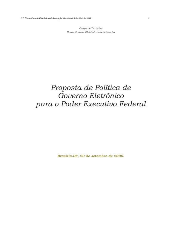 Proposta de Política de Governo Eletrônico para o Poder Executivo Federal