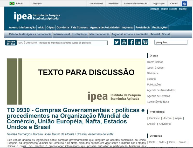 Compras governamentais: políticas e procedimentos na organização mundial de comércio, União Européia, Nafta, Estados Unidos e Brasil
