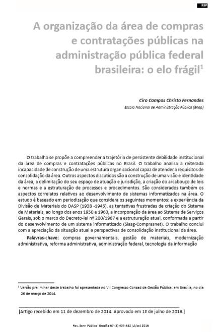 A organização da área de compras e contratações públicas na administração pública federal brasileira: o elo frágil