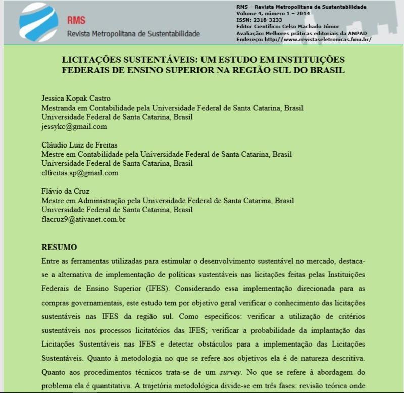 Licitações sustentáveis: um estudo em instituições federais de ensino superior na região sul do Brasil