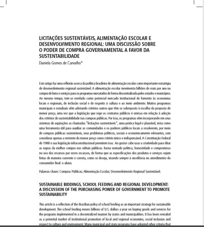 Licitações sustentáveis, alimentação escolar e desenvolvimento regional: uma discussão sobre o poder de compra governamental a favor da sustentabilidade