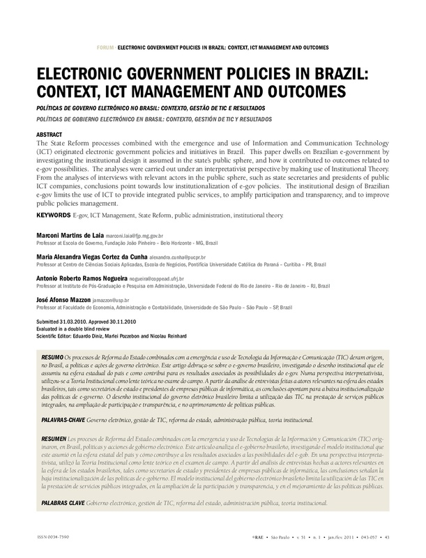 Electronic government policies in Brazil: context, ICT management and outcomes