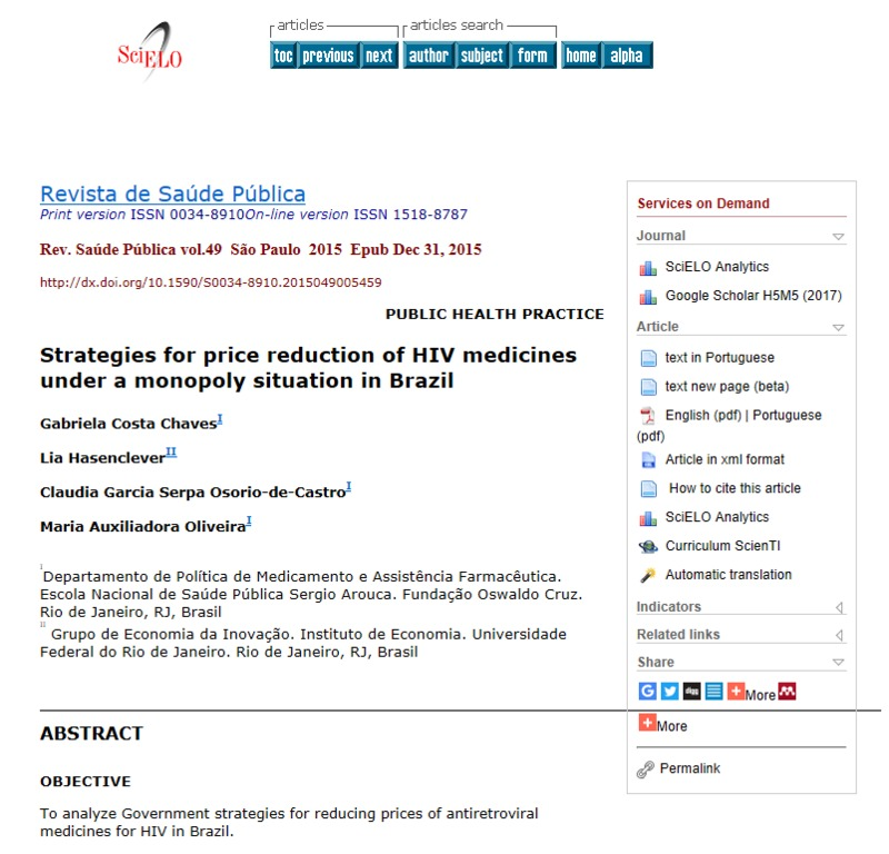 Strategies for price reduction of HIV medicines under a monopoly situation in Brazil