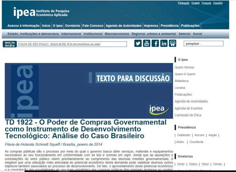 O poder de compras governamental como instrumento de desenvolvimento tecnológico: análise do caso brasileiro