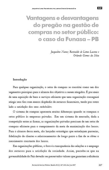 Vantagens e desvantagens do pregão na gestão de compras no setor público: o caso da Funasa – PB