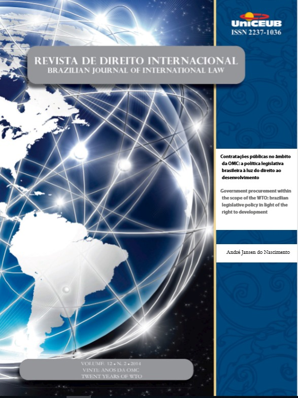 Contratações públicas no âmbito da OMC: a política legislativa brasileira a luz do direto ao desenvolvimento