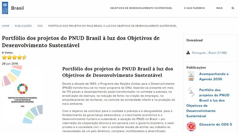 Portfólio dos projetos do PNUD Brasil à luz dos Objetivos de Desenvolvimento Sustentável<br /> <br />