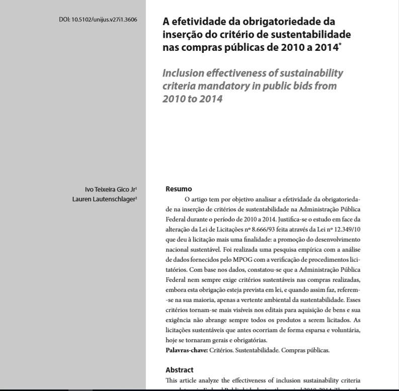 A efetividade da obrigatoriedade da inserção do critério de sustentabilidade nas compras públicas de 2010 a 2014