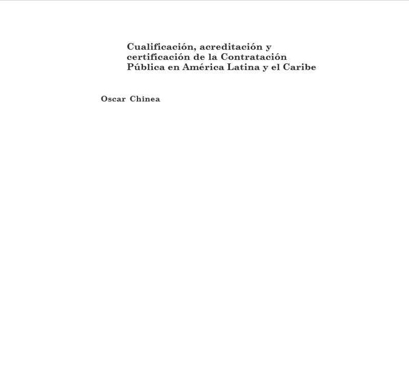 Cualificación, acreditación y certificación de la Contratación Pública en América Latina y el Caribe