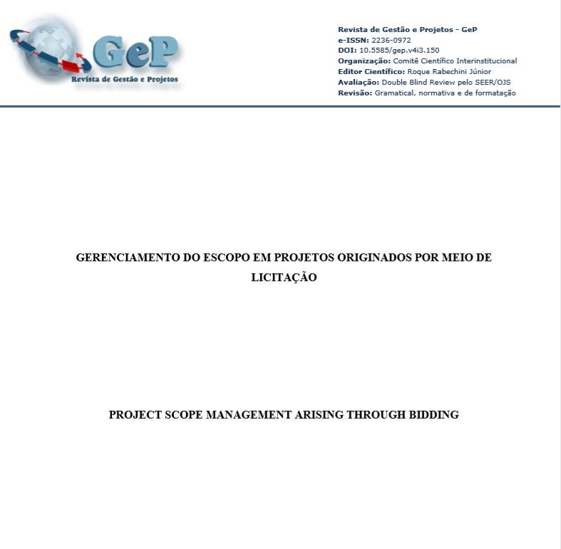 Gerenciamento do escopo em projetos originados por meio de licitação
