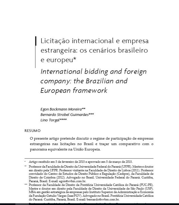 Licitação internacional e empresa estrangeira: os cenários brasileiro e europeu