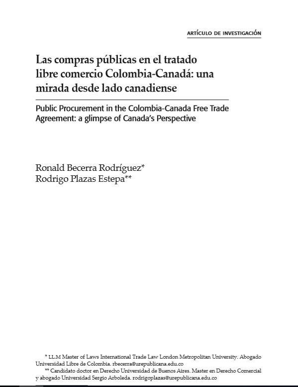 Las compras públicas en el tratado libre comercio Colombia-Canadá: una mirada desde lado canadiense