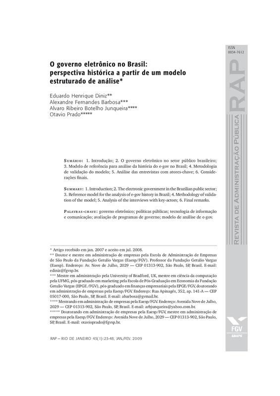 O governo eletrônico no Brasil: perspectiva histórica a partir de um modelo estruturado de análise