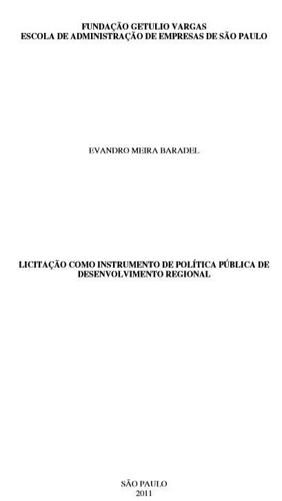 Licitação como instrumento de política pública de desenvolvimento regional
