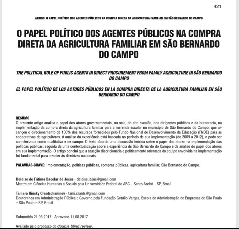 O papel político dos agentes públicos na compra direta da agricultura familiar em São Bernardo do Campo
