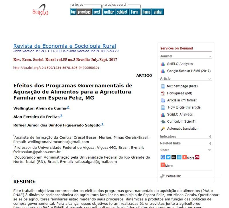 Efeitos dos programas governamentais de aquisição de alimentos para a agricultura familiar em Espera Feliz, MG
