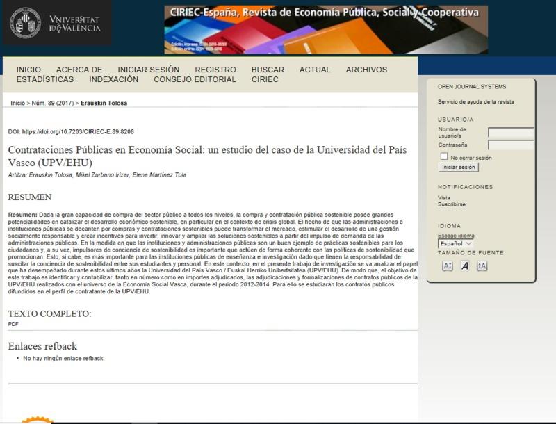 Contrataciones públicas en economía social: un estudio del caso de la Universidad del País Vasco