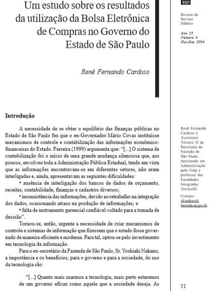 Um estudo sobre os resultados da utilização da Bolsa Eletrônica de compras no Governo do Estado de São Paulo