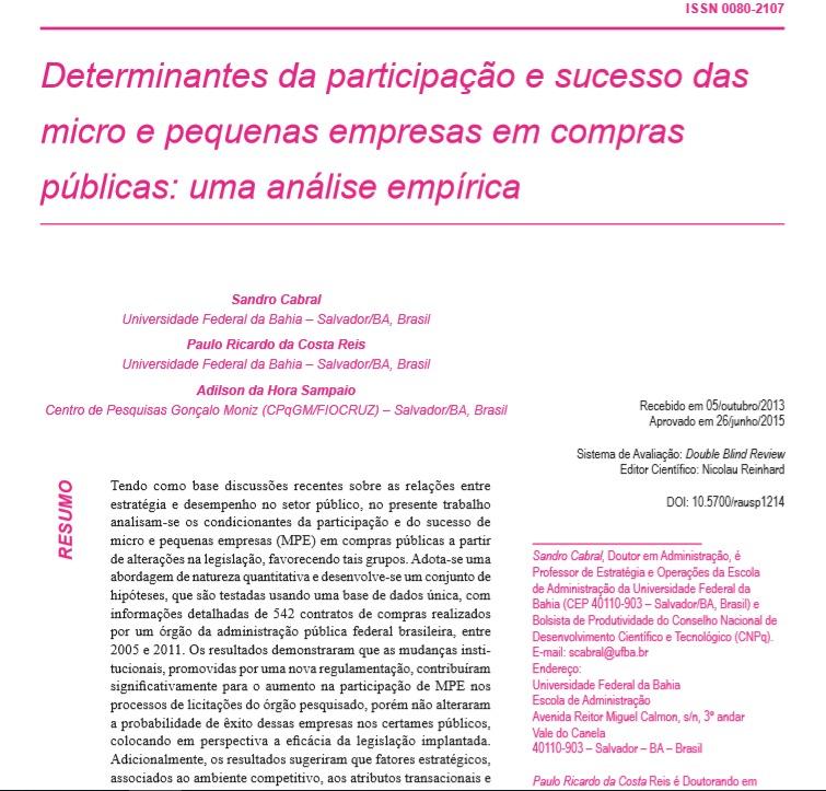 Determinantes da participação e sucesso das micro e pequenas empresas em compras públicas: uma análise empírica