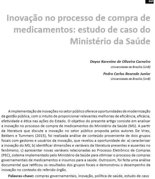 Inovação no processo de compra de medicamentos: estudo de caso do Ministério da Saúde