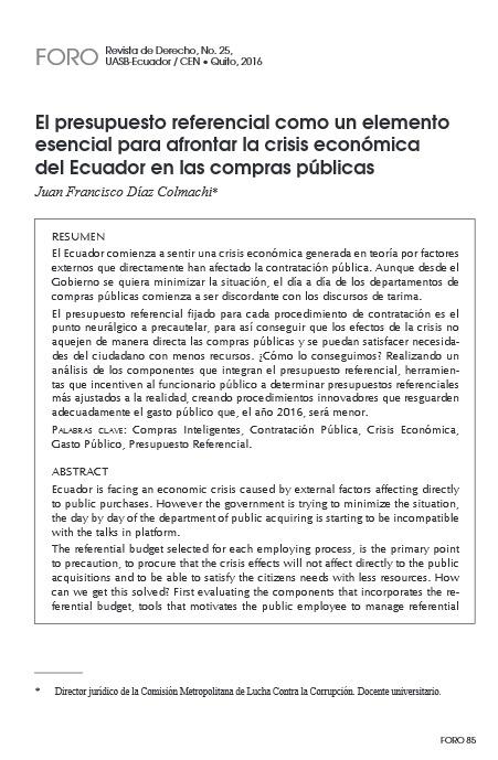 El presupuesto referencial como un elemento esencial para afrontar la crisis económica del Ecuador en las compras públicas