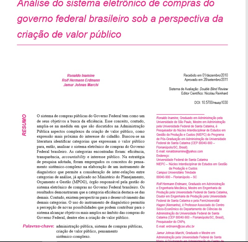Análise do sistema eletrônico de compras do governo federal brasileiro sob a perspectiva da criação de valor público