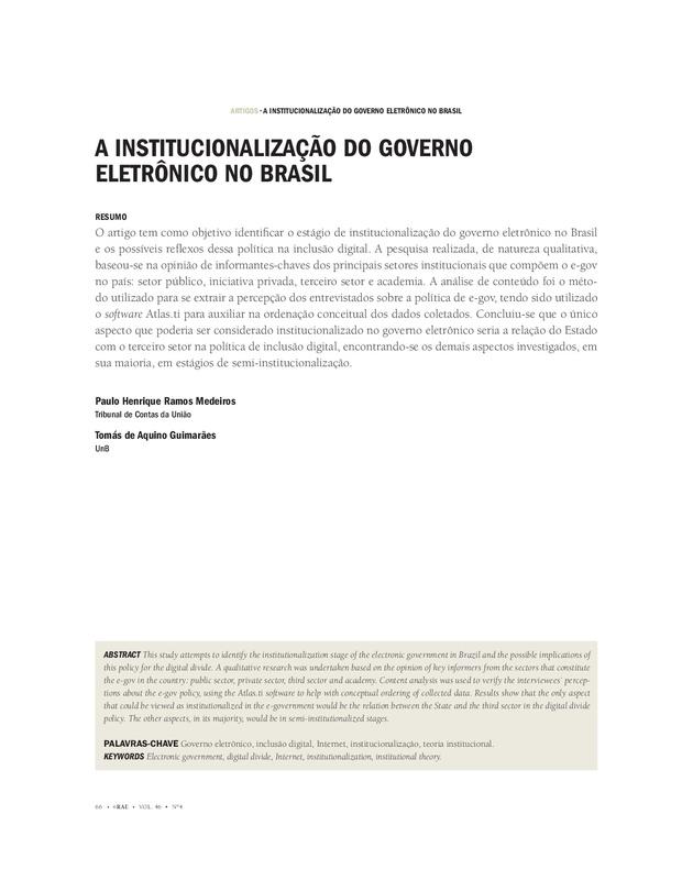 A Institucionalização do Governo Eletrônico no Brasil